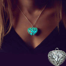 dongshengMovie Beauty And The Beast Necklace Heart-shaped Glowing In The Dark Pendant Necklace Hollow Necklace Women Jewelry -30