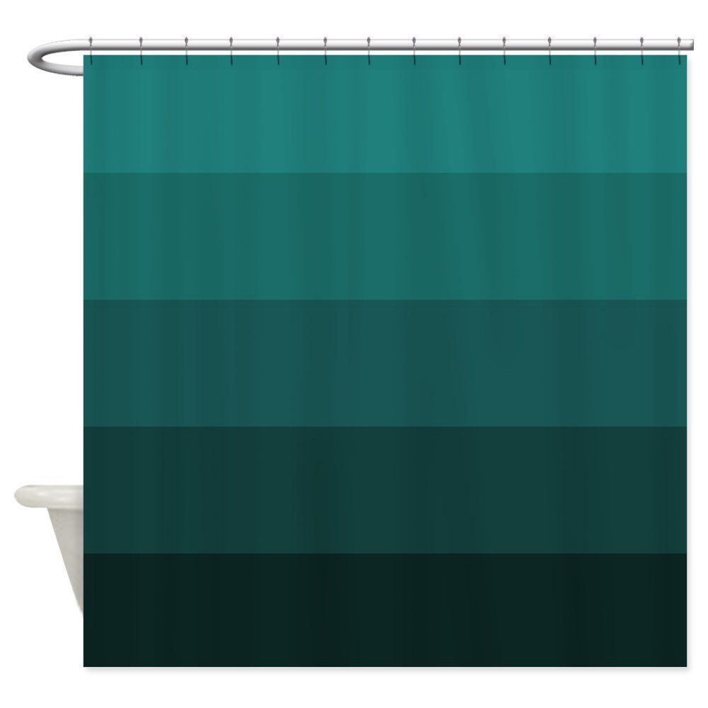 Color Bands (teal) Shower Curtain - Decorative Fabric Shower Curtain (69x70)