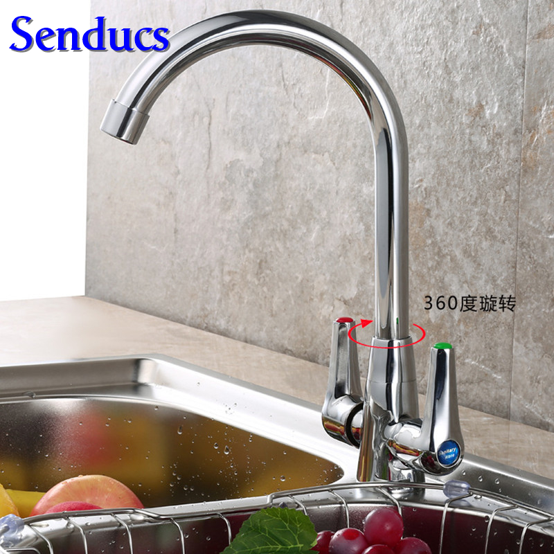 Free shipping Senducs dual handle kitchen sink faucet with single hole solid brass kitchen faucet and