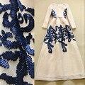 XL! Elegante Vestido Longo 2016 Moda de Luxo Mulheres Apliques Bordados Manga Longa Até O Chão Vestido Longo Maxi Evento Para A Festa casamento