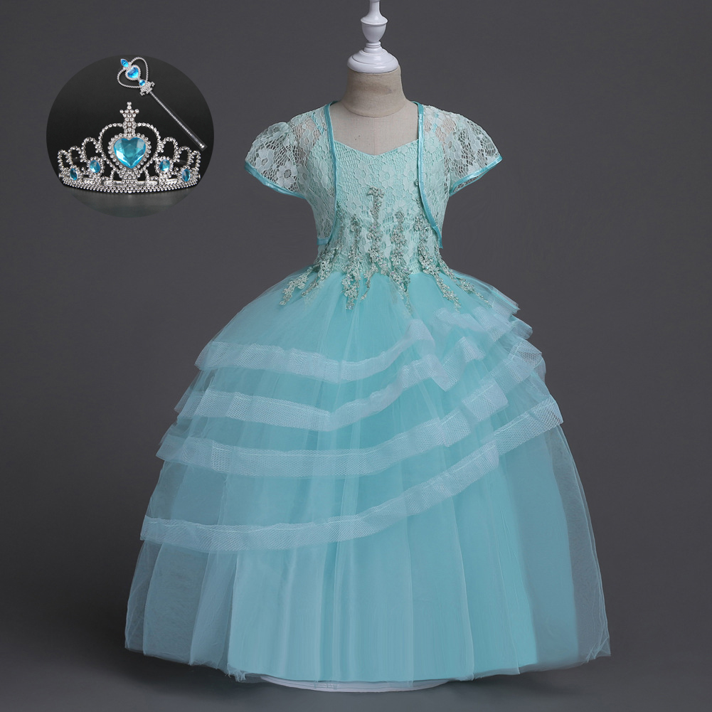 Gorgeous Formal 2017 New Arrive  American Princess Birthday Clothing Girl 3 To 14 Years Old Children Party Dress Girls Blue Pink hello bobo girls dress collection of sports in the new year is suitable for 2 to 6 years old children s clothing