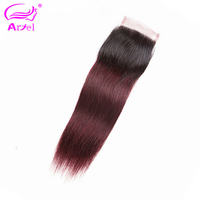 Ombre 1b 99J Lace Closure Straight Closure Middle/Free Part Indian Non Remy 4*4 Closures 1B Burgundy Human Hair Closure ARIEL