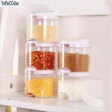 5pcs/Set Kithcne Creative Transparent Seasoning Cans Kitchen Spice Rack Condiment Bottles Pepper Shakers Box
