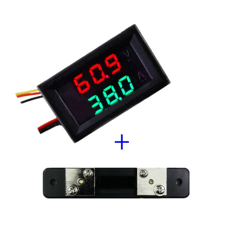 RD dual LED Display 0.28 DC0-100V/50A Car voltage current meter Digital Ammeter Voltmeter 5 wire with shunt(China)