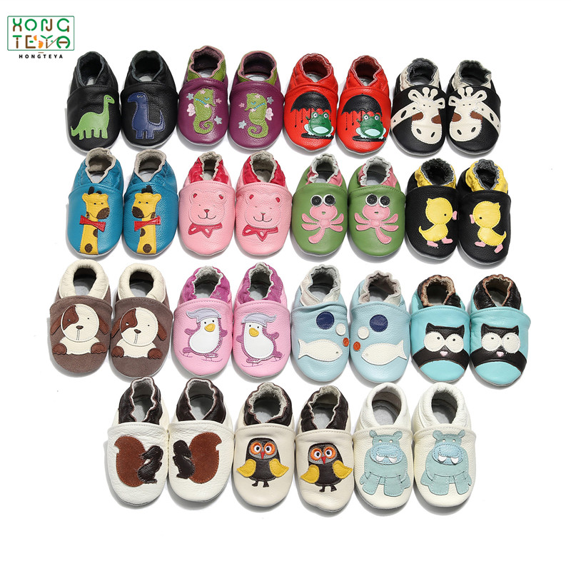 37 Styles Cartoon Printed Genuine Leather Baby Shoes Newborn Baby Boys Girls Soft Shoes Skid-Proof Baby Crib Shoes 0-24 Month