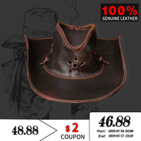 100% Genuine leather Western Cowboy Hats Men Sun Cowhide Outdoor Wide Brim Jazz Caps high quality Cowboy hat Unisex Visor