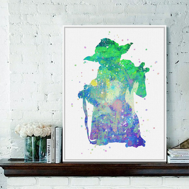 Star Wars Yoda Watercolor A4 Huge Art Print Poster