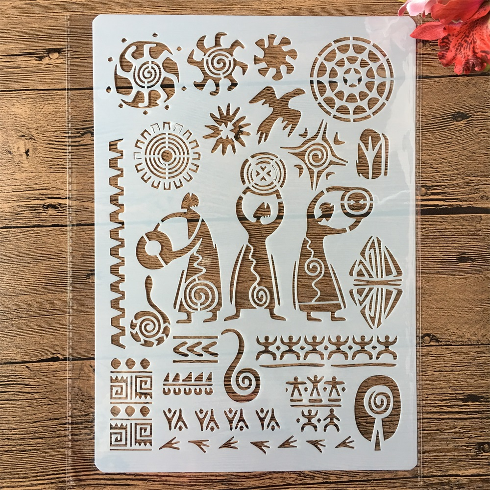 A4 Primitive Ancient Totem DIY Craft Layering Stencils Painting Scrapbooking Stamping Embossing Album Paper Card Template