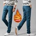 2016 новый мужской осень зима Брюки теплые стекаются теплой мягкой шерсти теплые джинсы дизайнер мужчины марка брюки