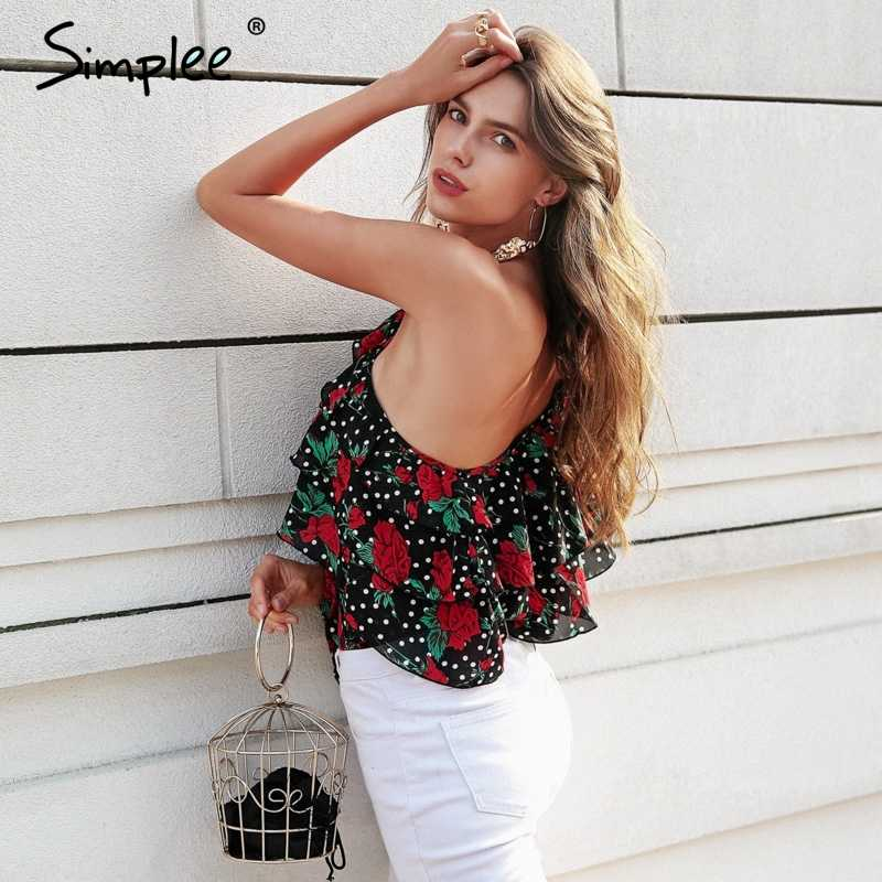 Simplee واحد الكتف الأزهار بوهو بلوزة المرأة الكشكشة بلوزة شيفون طويلة الأكمام قميص الصيف الشاطئ blusas مثير الأسود القمم 2018