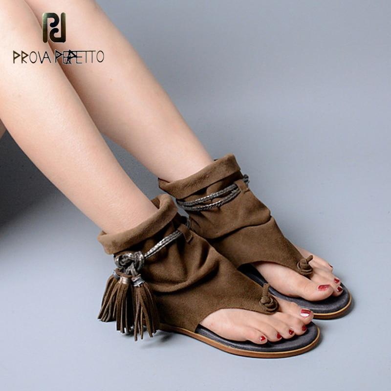 купить Prova Perfetto Brand Lady Ankle Boots Sandal Shoe Thong Tassel Fringe Bohemia Summer Ethnic Vintage Style Gladiator Flat Sandal по цене 3161.88 рублей