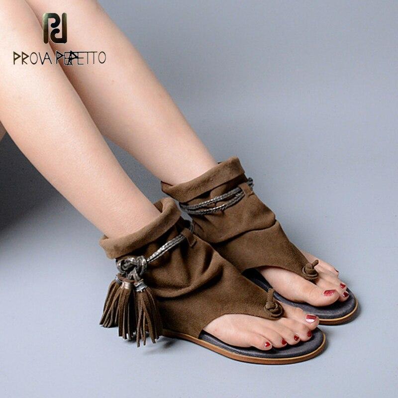 Prova Perfetto Marca Lady Stivaletti Sandalo Scarpa Perizoma Della Frangia Della Nappa Della Boemia di Estate Etnico Stile Vintage Gladiatore Sandalo Piatto