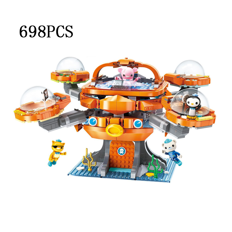 Cartoon Octonauts octo-pod brick octopus castle base building block Barnacles Kwazii Professor Inkling figure building block toy led blue light octopus electronic building block brick module for arduino