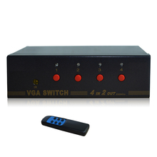 HighTek HK-V4T2R 250MHZ VGA switcher box 4 port for VGA signal input, 2 ports VGA signal output with remote