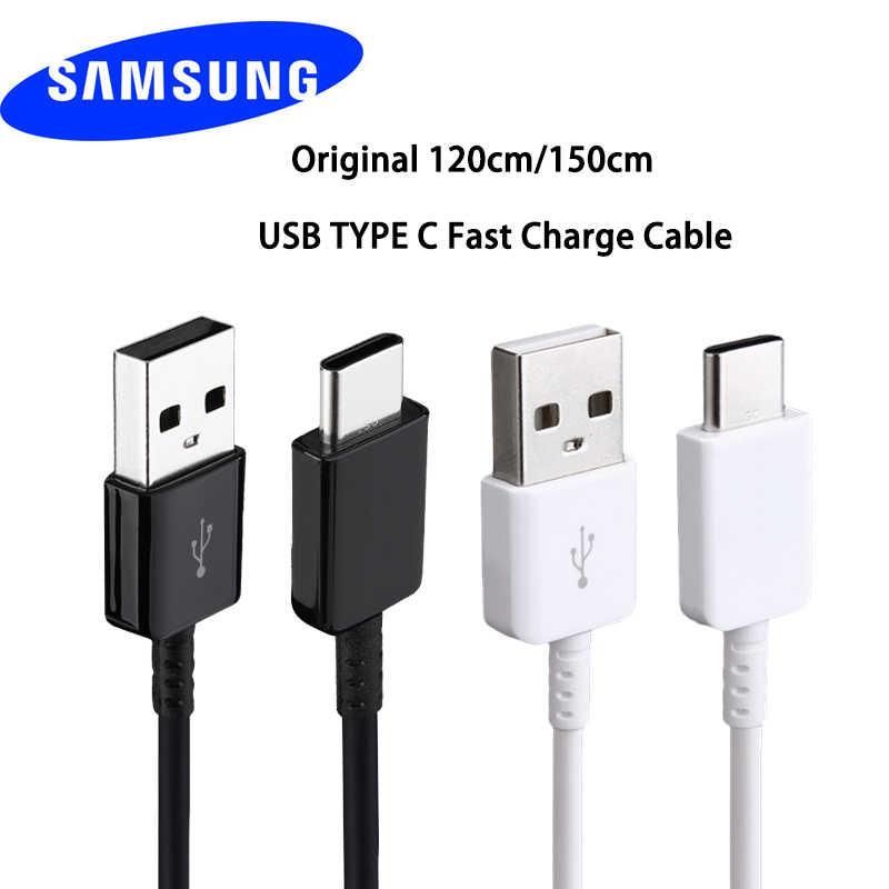 100% Asli Samsung Charger USB Tipe C Cepat USB 1.2 Tipe C Kabel untuk Galaxy S8 S9 Plus Catatan 8 9 A3 A5 A7