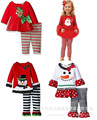 2016 New Baby Girl Christmas Snowman Long Sleeve Dress + Striped Lace Pants 2pcs Suit Kids Children Girls Santa Clothes