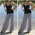 2016 Fashion New Slim Casual Print Polyester Wide Leg Pants Straight Pants Women Pants