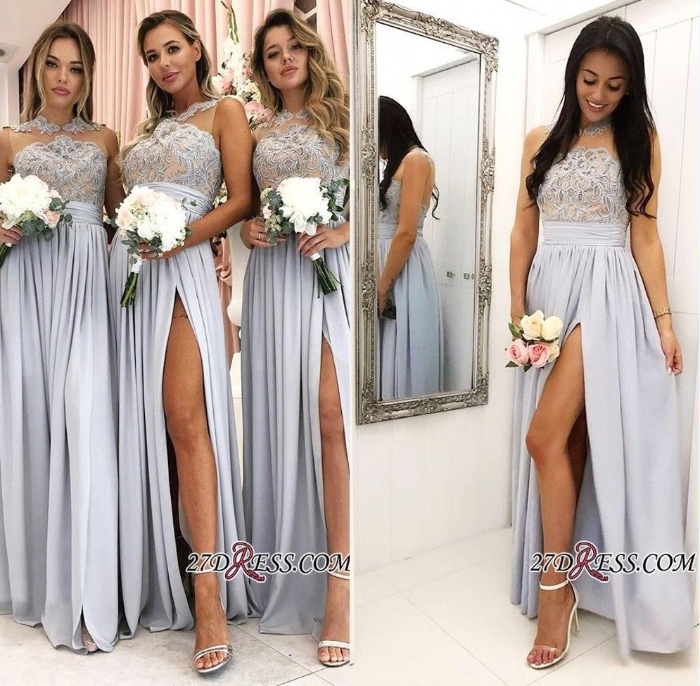 Elegant Lace Appliques A Line Bridemaid Dresses A Line Chiffon Maid Of Honor Gowns Side Split Formal Party Prom Gow