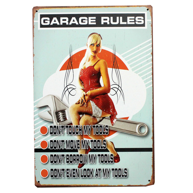 Vintage Home Decor Sexy Woman Retro Metal Tin Decorative Signs Garage Car Rules Do Not Touch