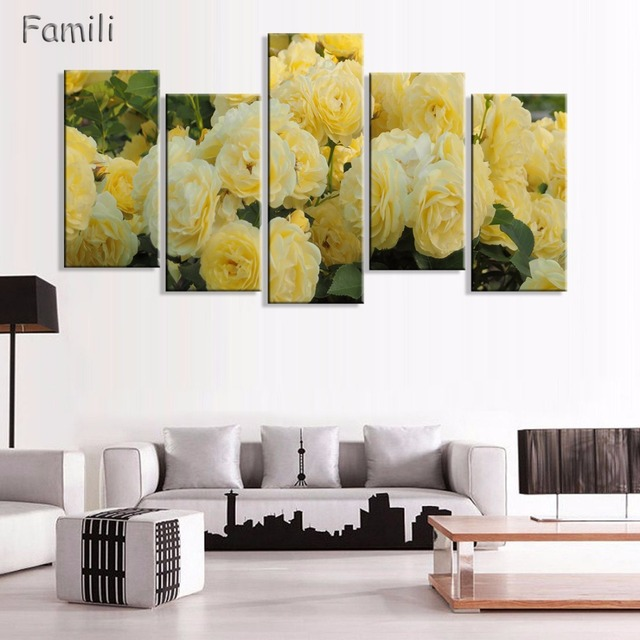 5pcs Romantic Canvas Painting rose flower Oil Painting Large Wall ...