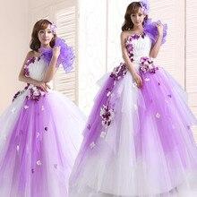Фиолетовое платье Кинсеаньера сладкий цветок рюшами одно плечо бальное платье пышные бальные платья Бальные платья
