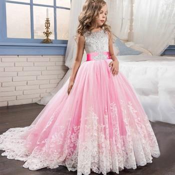92537e6545175 Çocuk Kız Zarif Düğün Inci Yaprakları Kız Elbise Prenses Parti Pageant Uzun  Kollu Dantel Tül için 3 4 5 6 7 8 9 10 11 12 yıl