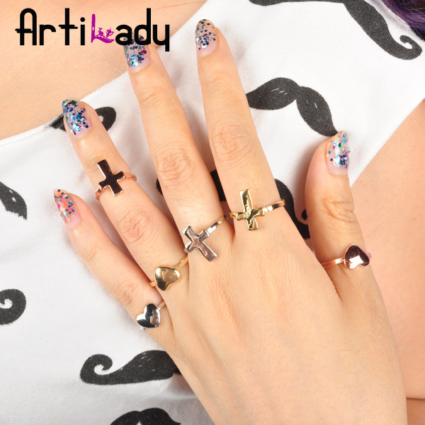 Artilady midi ring 6pcs stack rings  gold plating love heart with cross deisgn ring with crystal jewelry