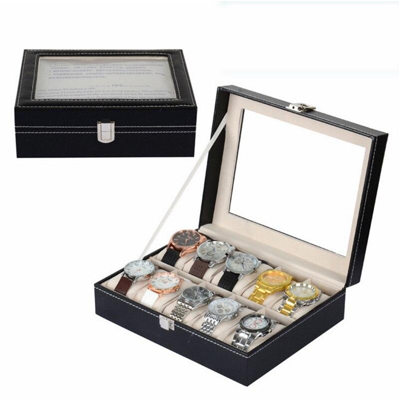 10 grilles montre en cuir PU Professionnel organiseur support de boîte pour montre montres boîtes d'affichage