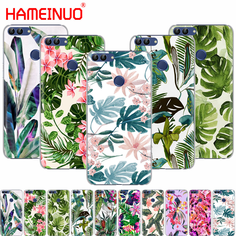 HAMEINUO Tropical Green Leaves Floral <font><b>cell</b></font> <font><b>phone</b></font> Cover Case for <font><b>huawei</b></font> Honor 7C Y625 Y635 <font><b>Y6</b></font> Y7 Y9 2017 2018 Prime