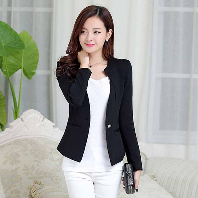 Women Blazer Coat 2017 Slim Jacket Long Sleeve Single Button Suit Ladies Blazers Spring OL Female Blaser Outwear Blazer WS026