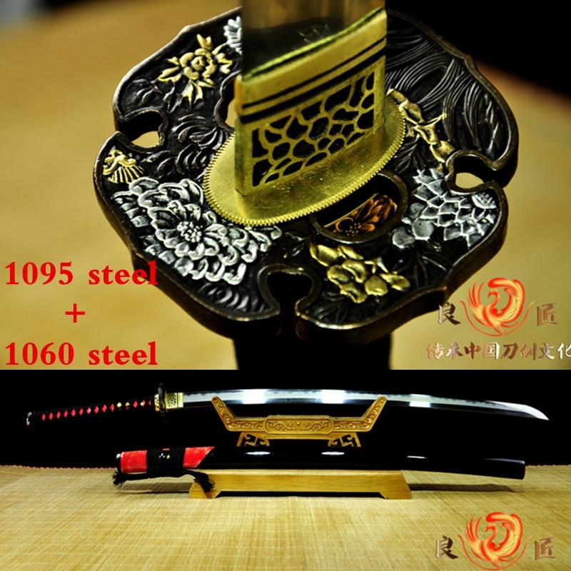 Handmade Samurai Japanese Clay Tempered Sword1060 folded steel and 1095 steel katana Full Tang Sharp in Swords from Home Garden