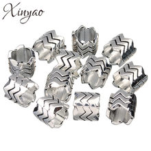 XINYAO 20 pcs/lot Antique Warna Silver Big Hole Spacer Paduan Logam Tabung Charms Beads Untuk Membuat Perhiasan Temuan DIY F1932(China)