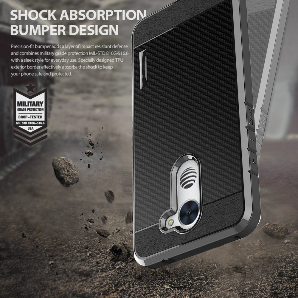 SuaGet Case Cover For Huawei Ascend XT 2 Shockproof Carbon Fiber Hybrid Slim Case Cover For H1711 / Elate 4G LTE