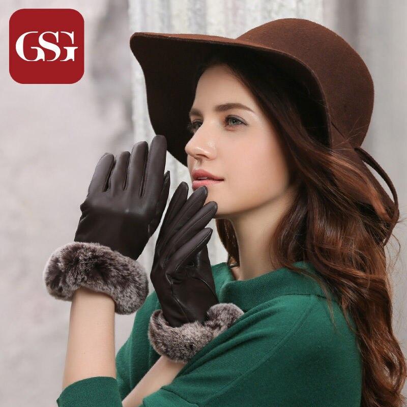 GSG Womens Genuine Leather Gloves Luxury Rabbit Fur Gloves Ladies Winter Touchscreen Leather Gloves Driving Gloves