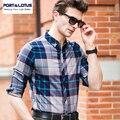 PORTA & LOTUS Camisas Para Homens Casual Xadrez Fino Homens da Camisa Listrada de Mangas Compridas Camisa Dos Homens de Roupas de Marca YT013 12609