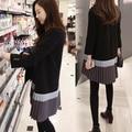Зимний Европейский благородный темперамент воспитать в себе мораль с длинными рукавами свитер dress Южная Корея sweet comfort женщины ткань