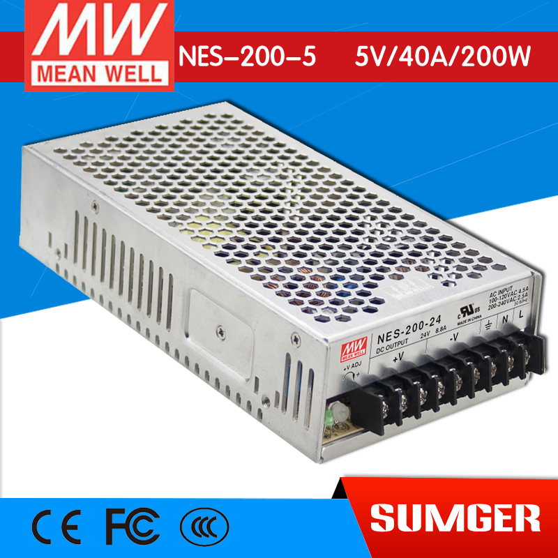 [Only on 11.11] MEAN WELL original NES-200-5 5V 40A meanwell NES-200 5V 200W Single Output Switching Power Supply original meanwell nes 350 24 ac to dc single output 350w 14 6a 24v mean well power supply nes 350