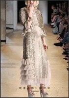 Видеть оранжевый Лолита Блёстки Сетчатое платье длинный рукав тонкий высокая уличная О образным вырезом длинное платье Для женщин so3328