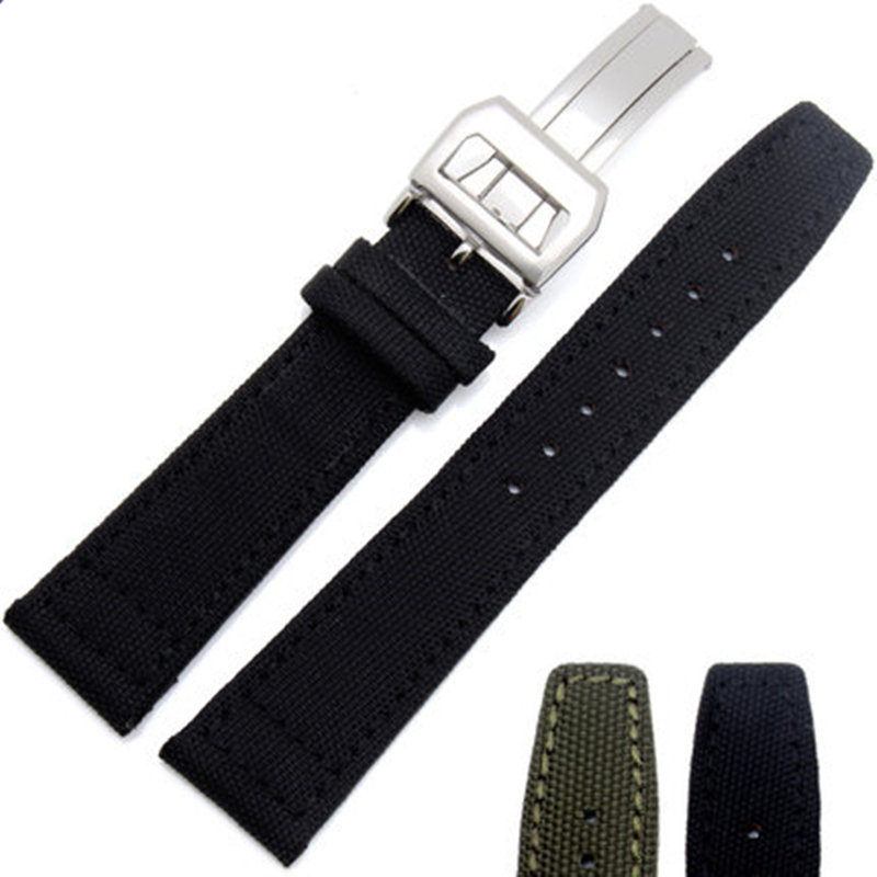 TJP 20mm 21mm 22mm Green Black Nylon + Genuine Leather Watch Strap Watchband For IWC/PORTUGIESER CHRONOGRA With Butterfly Buckle top grade vintage calfskin genuine leather watch strap 20mm army green tan dark blue green maroon black watchband with buckle