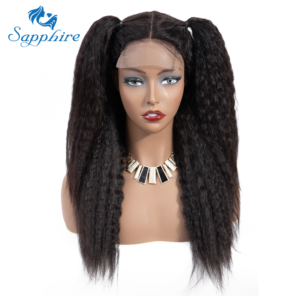 HTB1f9tUa.vrK1RjSspcq6zzSXXaE Sapphire 4*4 Deep Part Lace Wigs Brazilian Human Hair Wigs Pre Plucked Yaki Straight Kinky Straight Lace Closure Wigs For Women