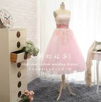 real photos a line pink lace appliques vestidos New fashion sexy strapless tea length prom gown 2018 party Bridesmaid Dresses