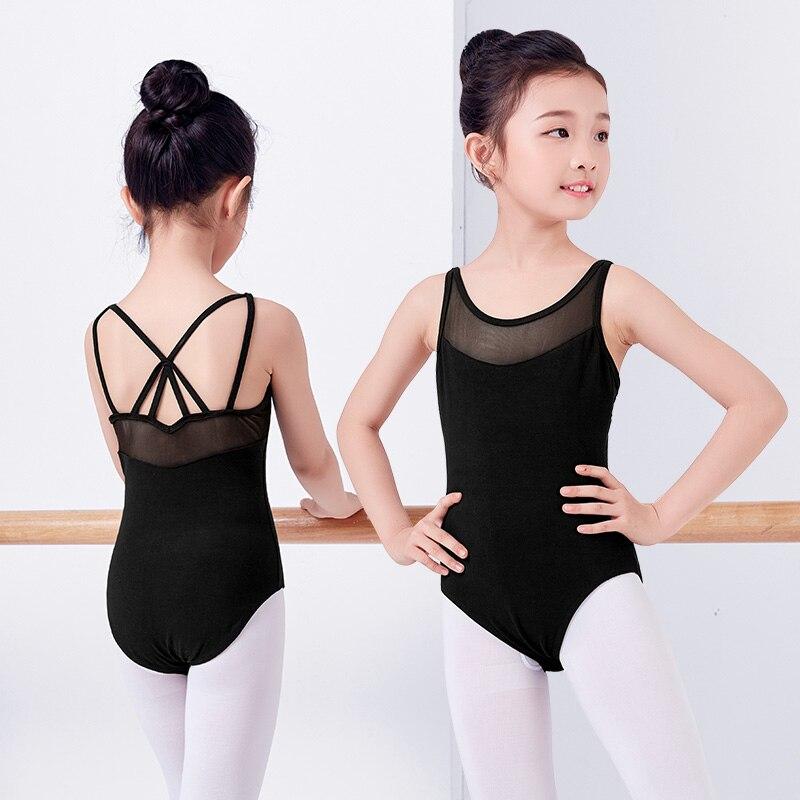 New Children Summer Sleeveless Gymnastics Ballet Dance Leotards Girls Kids Mesh Splice Pink Black Dancewear
