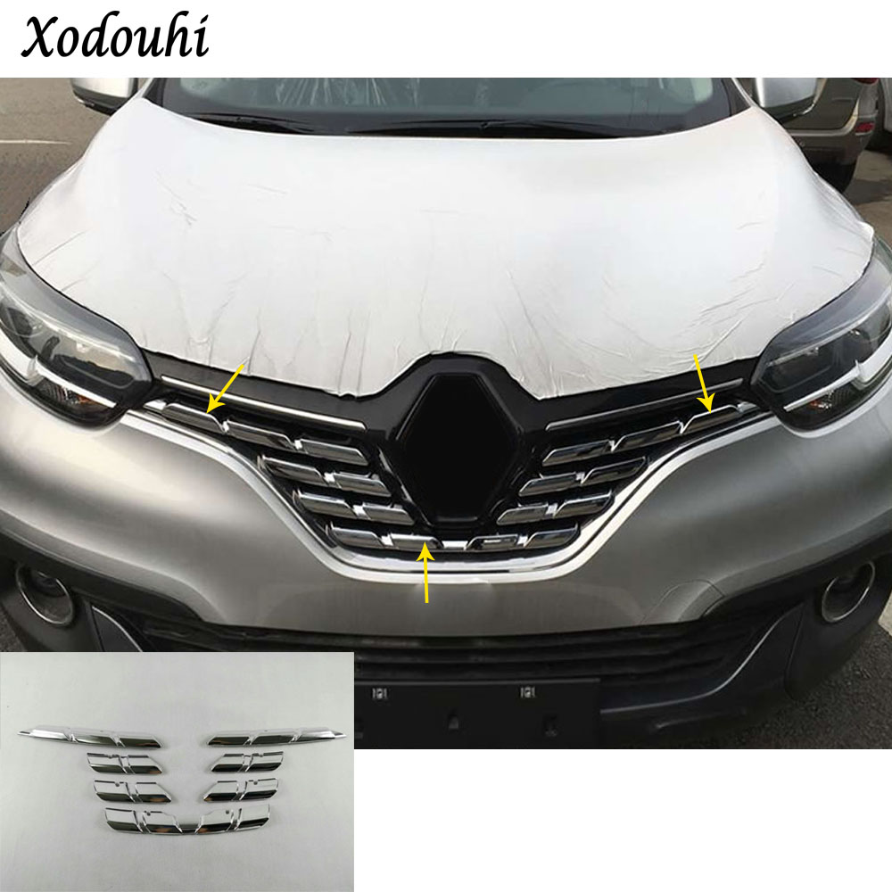 For Renault Kadjar 2016 2017 2018 Car body cover protection detector ABS chrome trim racing Grid Grill Grille molding 7pcs high quality for toyota highlander 2015 2016 car cover bumper engine abs chrome trims front grid grill grille frame edge 1pcs
