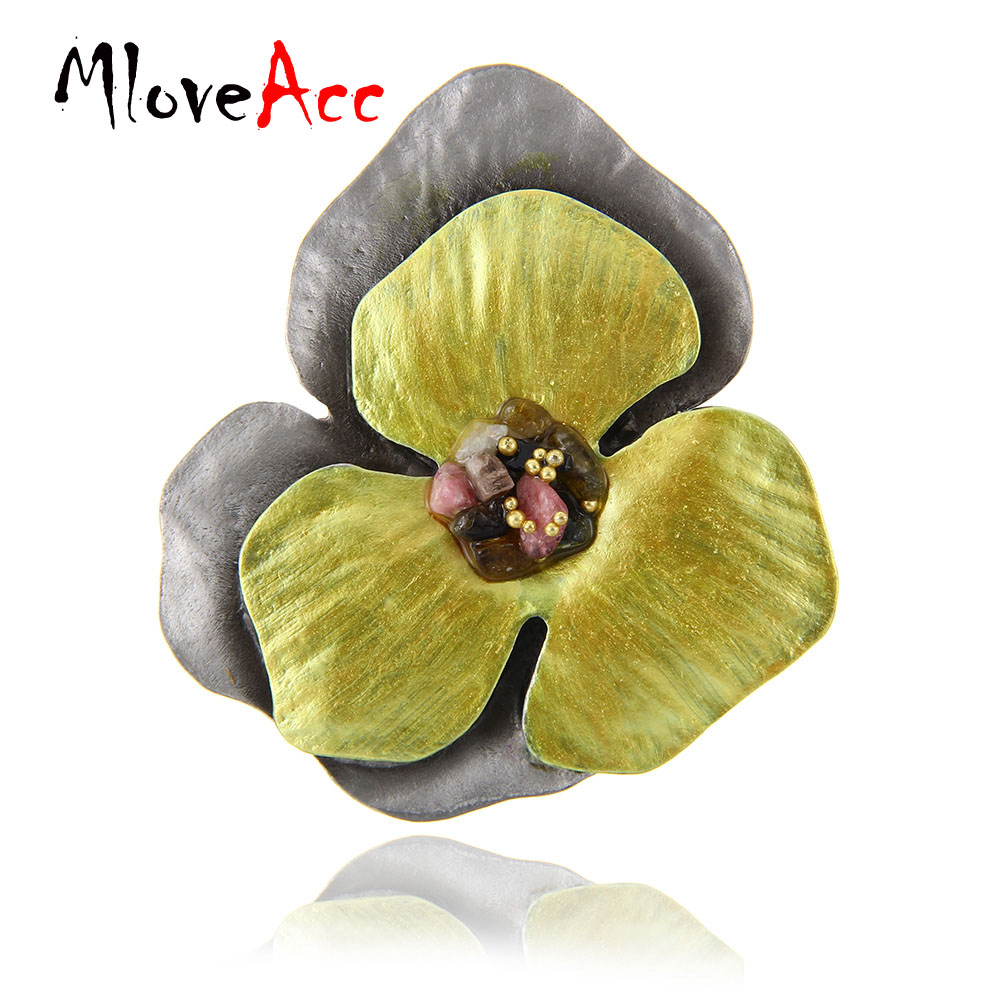 MloveAcc Brand Vintage Women Brooches & Pins Jewelry Yellow Enamel Flower Brooch w/ Stone Fashion Anniversary Souvenirs