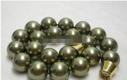 Free Shipping>>new hot RARE 20mm round green shell pearls necklace magnet E882