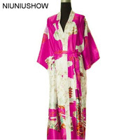 Free Shipping Hot Pink Ladies Silk Rayon Robe Kimono Bath Gown Nightgown Size S M L