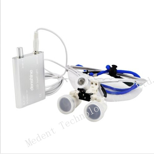 ФОТО  New Arrival Binocular dental Loupe 3.5X420mm Dental magnifier Optical Glass + Portable LED Head Light Lamp In Silver Color