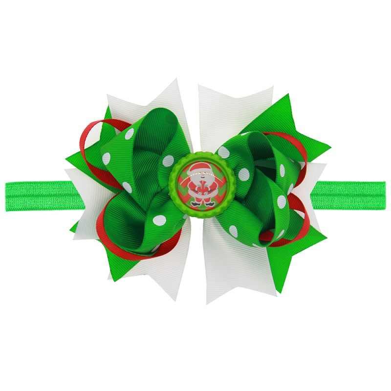 คริสต์มาสเด็กผม Bows เด็กทารก Hairband อุปกรณ์เสริมผมความยืดหยุ่น Photo Prop HB113S