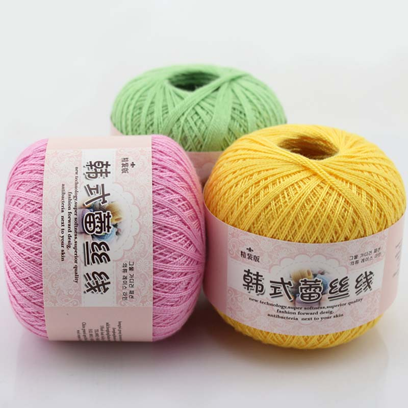 50g Classic Cotton Soft Rival Line Boutique Lace Pearl Gloss Shuttle Series Crochet Knitting Tape Yarn Thread Width 1mm