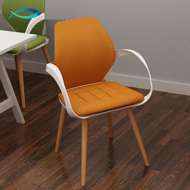 Fnf Sterne Hotel Esszimmerstuhl Nordamerikanischen Mode Wohnzimmer Stuhl Holz Bein Kunststoff Sitz Grn Grau Orange